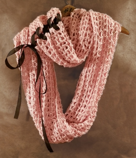 Crocheted Lacy Pink Infinity Cowl