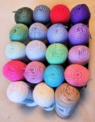 Yarn collection for baby beanies and afghans